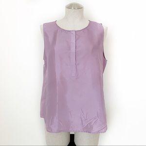 J. Crew Lavender 100% Silk Shell Blouse Size 8